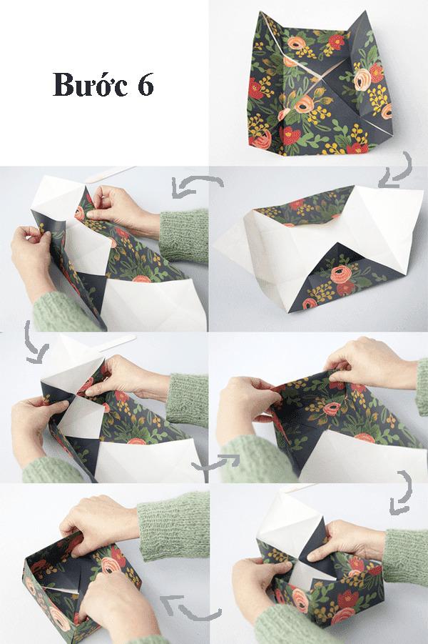 các bước gấp hộp giấy