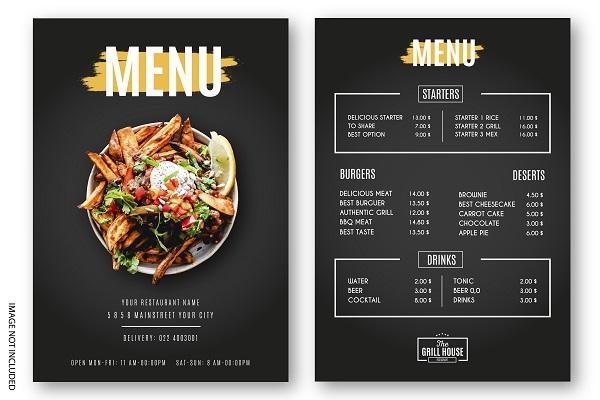 in thực đơn menu nhà hàng