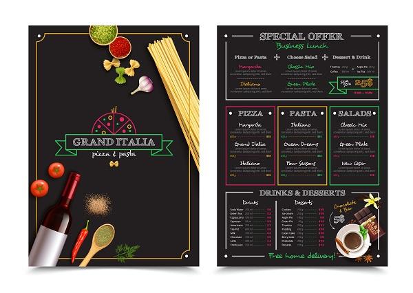 in menu nhà hàng