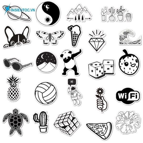 các mẫu sticker đẹp đen trắng - In Siêu Tốc