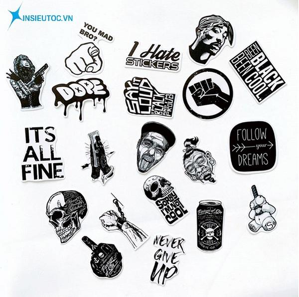 mẫu sticker dán tường đen trắng - In Siêu Tốc