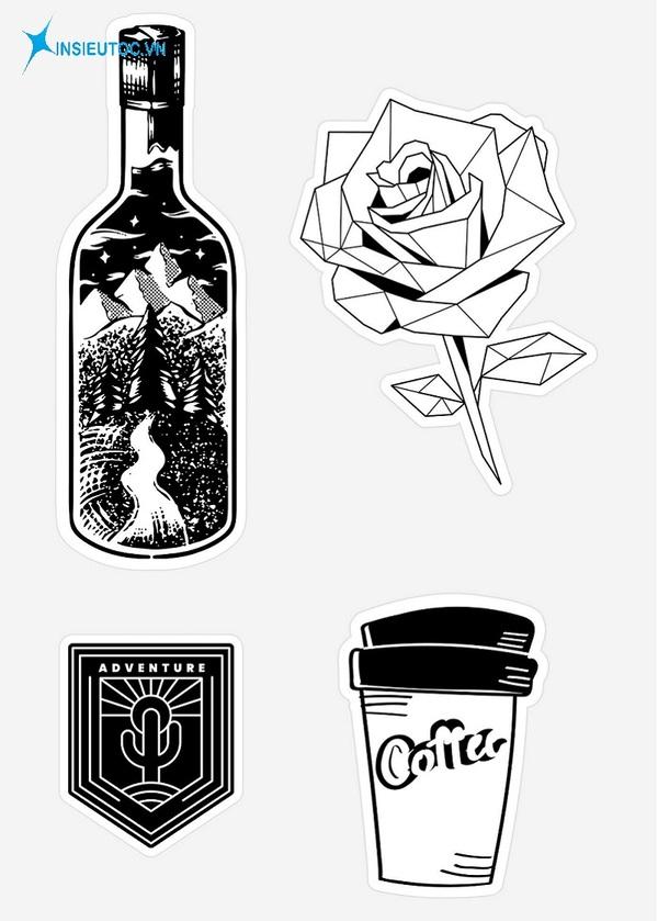 mẫu sticker đen trắng đẹp đơn giản - In Siêu Tốc