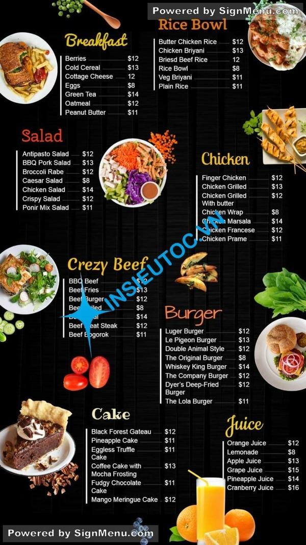 mẫu tờ rơi thực đơn món ăn nhà hàng - In Siêu Tốc