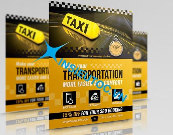 Tờ rơi quảng cáo dịch vụ taxi - In Siêu Tốc