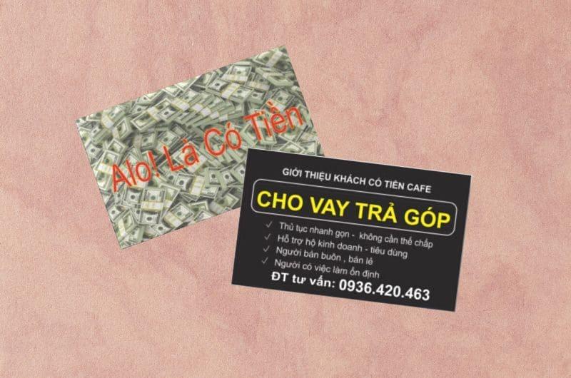 card visit dịch vụ cho vay