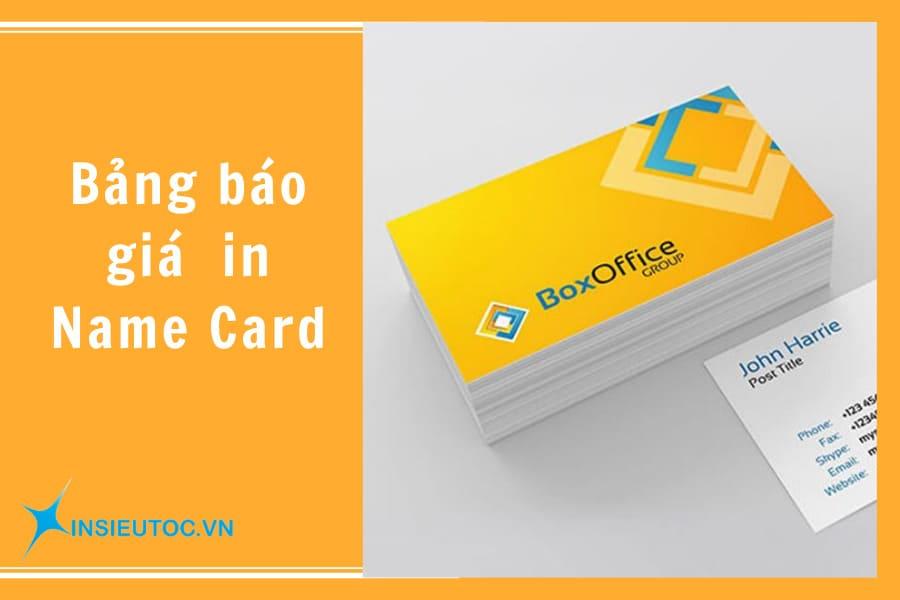 bảng giá in name card
