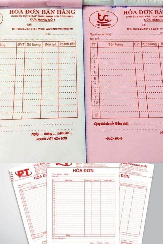 biểu mẫu hóa đơn bán hàng