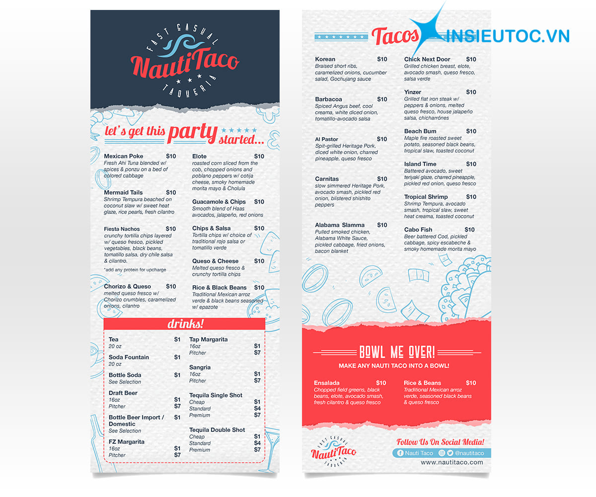 in menu giá rẻ hcm