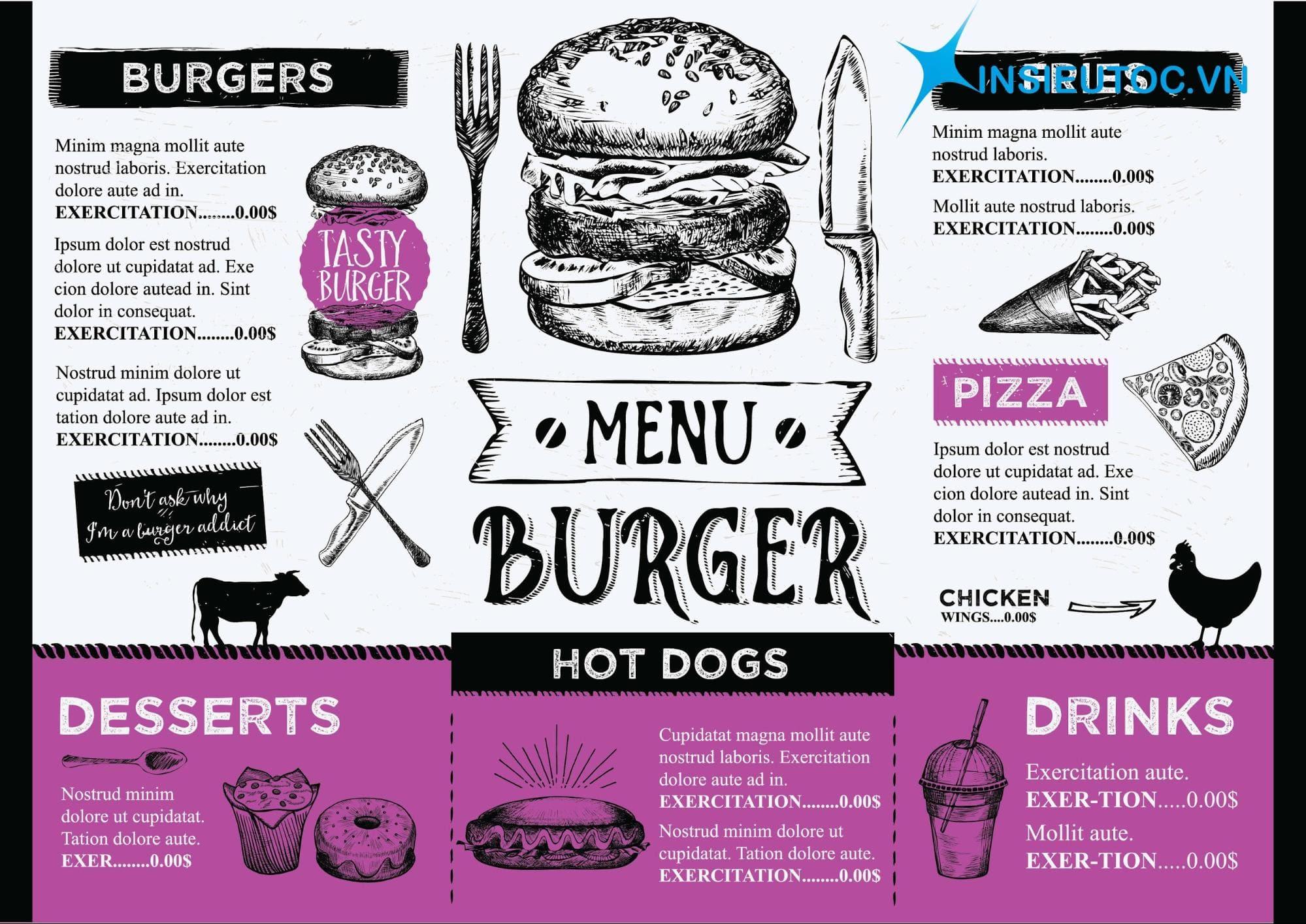 in menu giá rẻ tphcm
