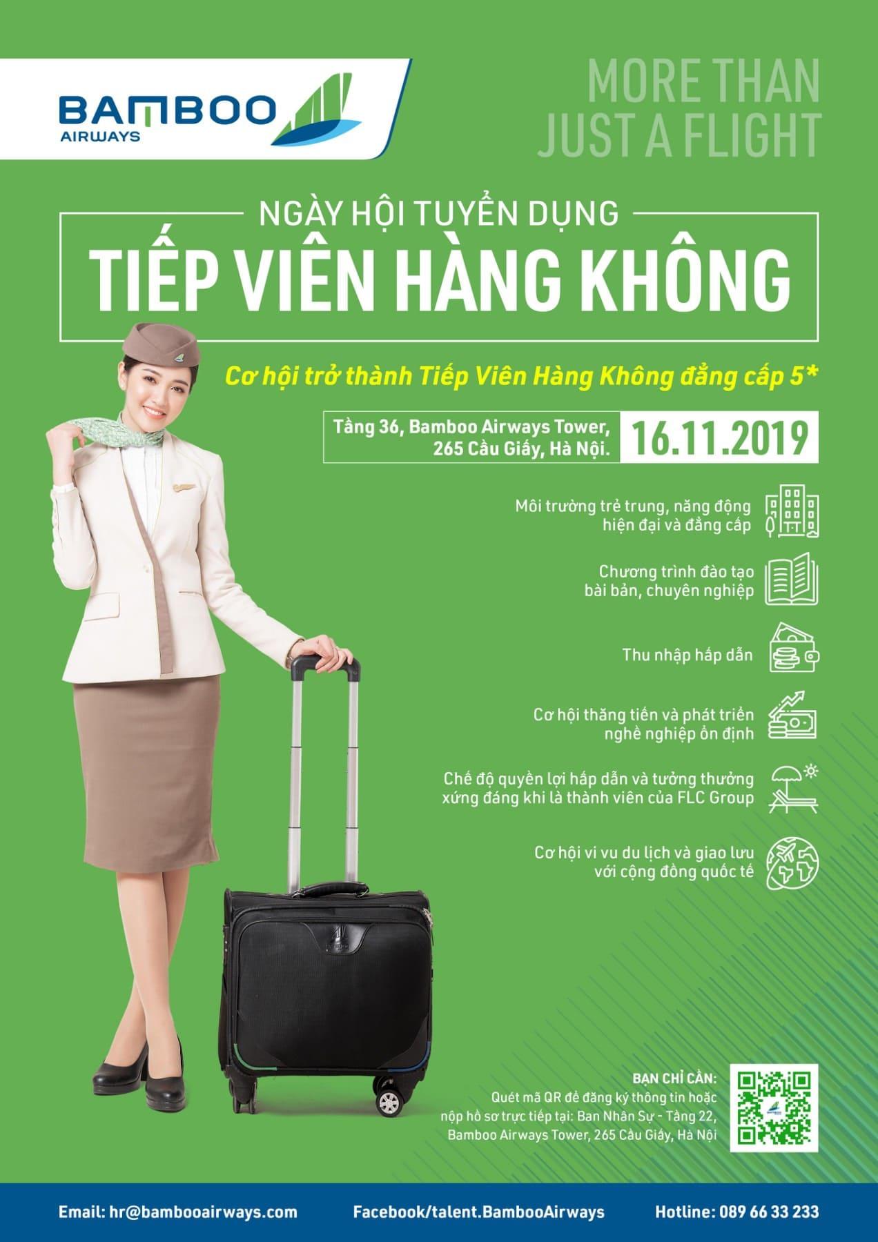 mẫu poster tuyển dụng tiếp viên hàng không