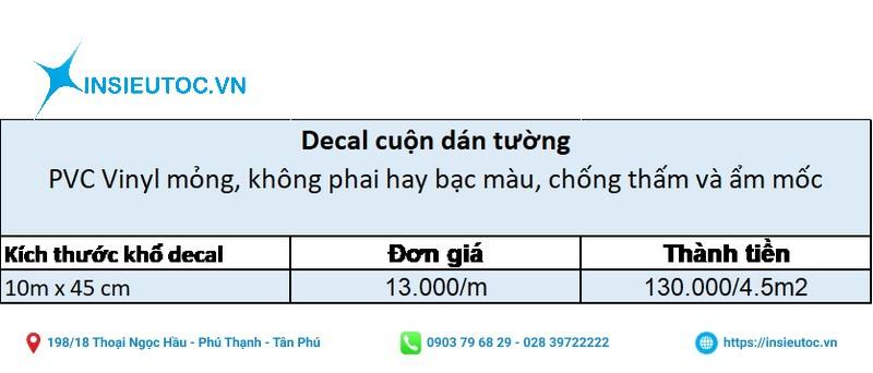 bảng giá decal cuộn dán tường