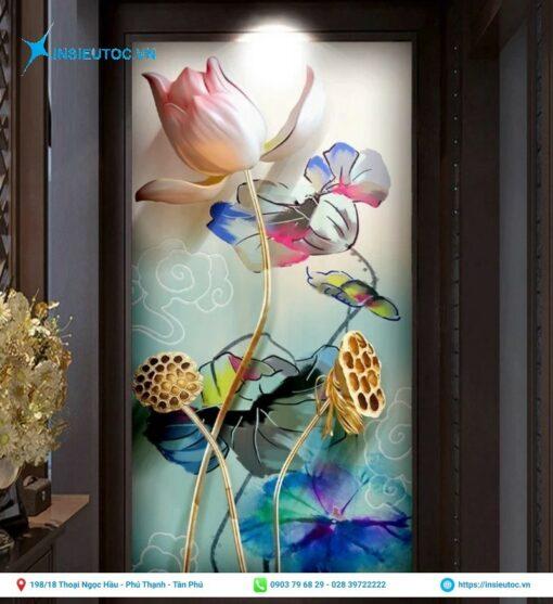 decal 3d hình hoa sen