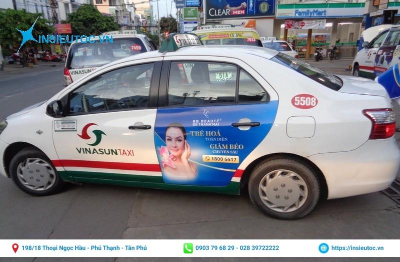 decal sữa dán xe taxi