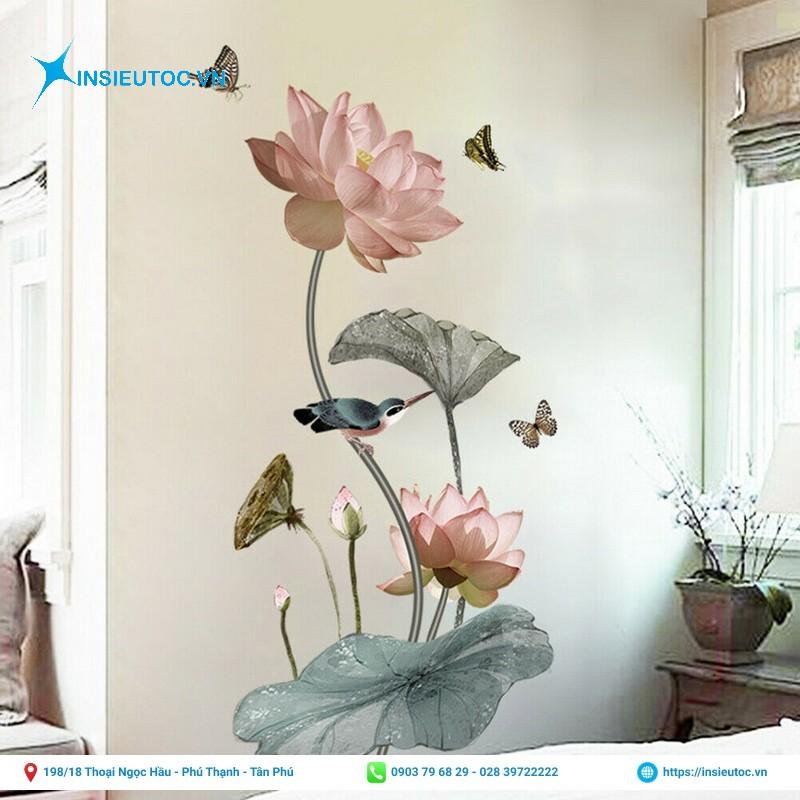 decal hoa họa tiết dán tường