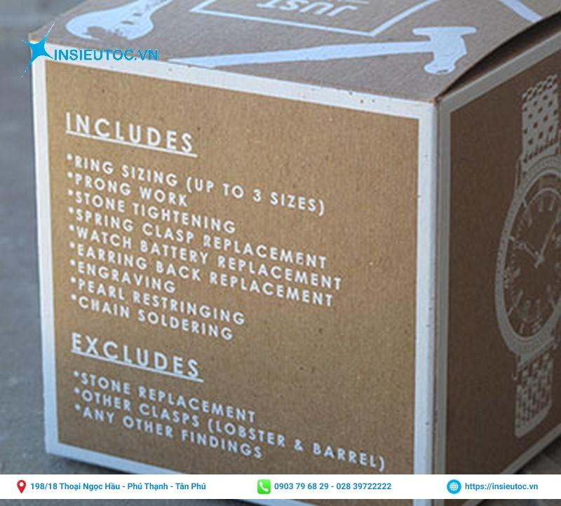Mẫu hộp giấy kraft in chữ trắng