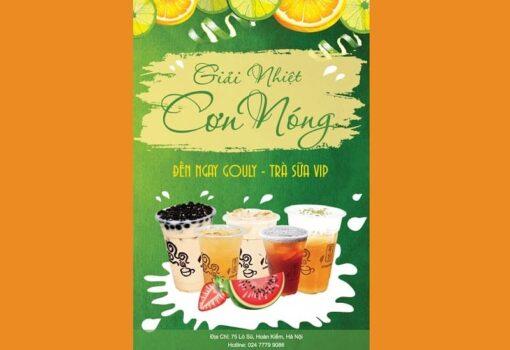 mẫu tờ rơi quảng cáo trà sữa xanh lá sáng tạo