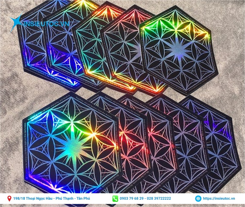 tem hologram 7 màu hình lục giác