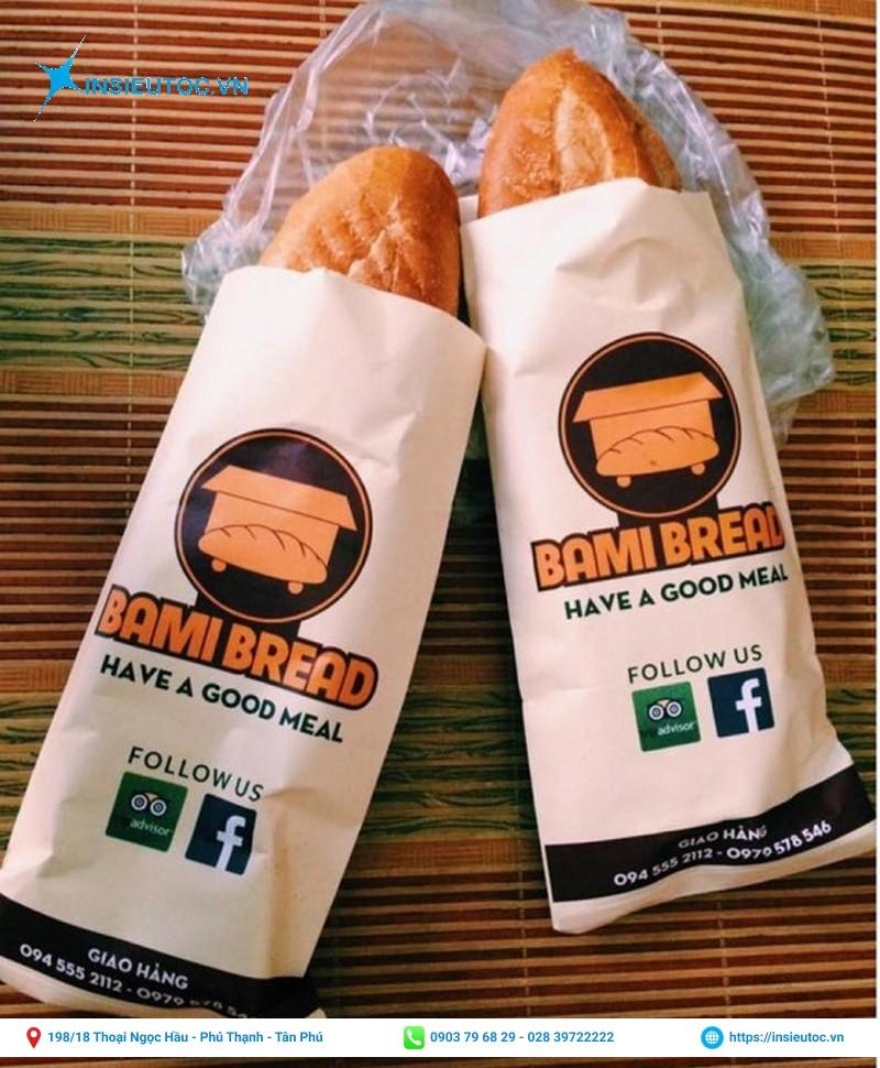 Túi giấy bánh mì in thương hiệu rõ ràng, nổi bật