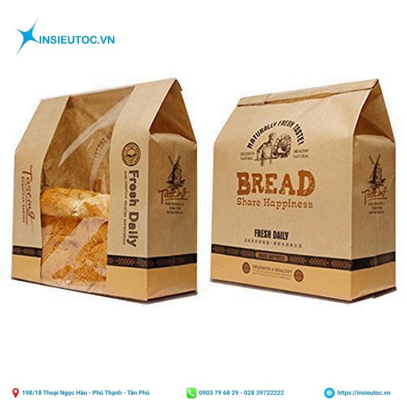 Túi giấy đựng bánh mì đẹp, thiết kế bắt mắt