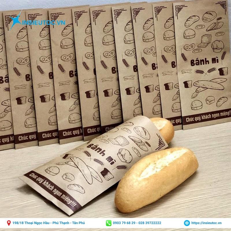 in túi giấy đựng bánh mì truyền thống
