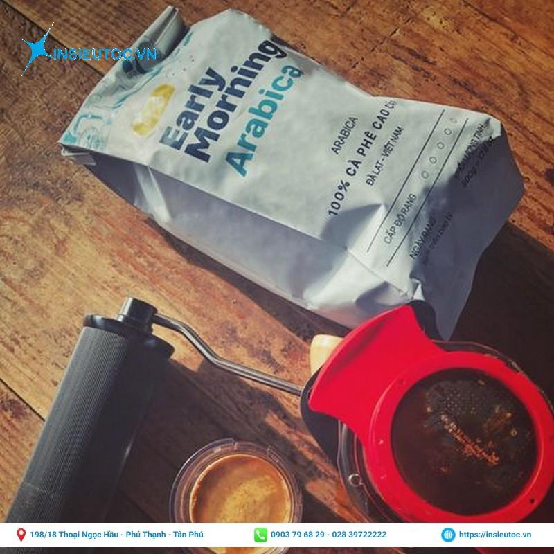 Túi giấy cafe màu trắng