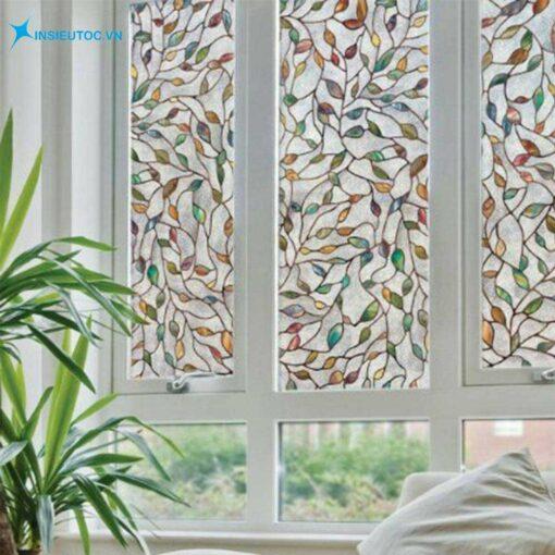Mẫu decal hoa lá trang trí cửa sổ, làm giảm ánh sáng tự nhiên