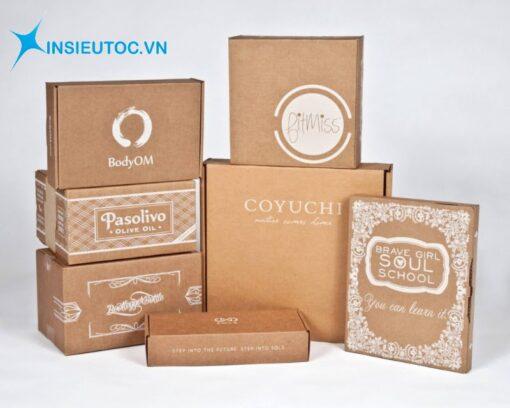 hộp giấy kraft đa dạng kiểu dáng và kích thước