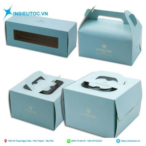 Mẫu hộp giấy cupcake màu xanh