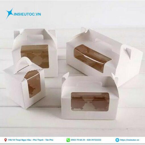 hộp giấy đựng bánh cupcake có quai cầm