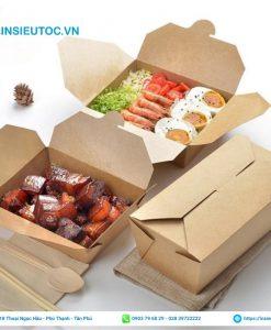 hộp đựng thức ăn bằng giấy đơn giản không in