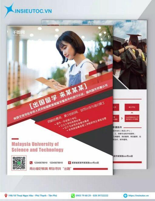 thiết kế tờ rơi tuyến sinh du học malaysia