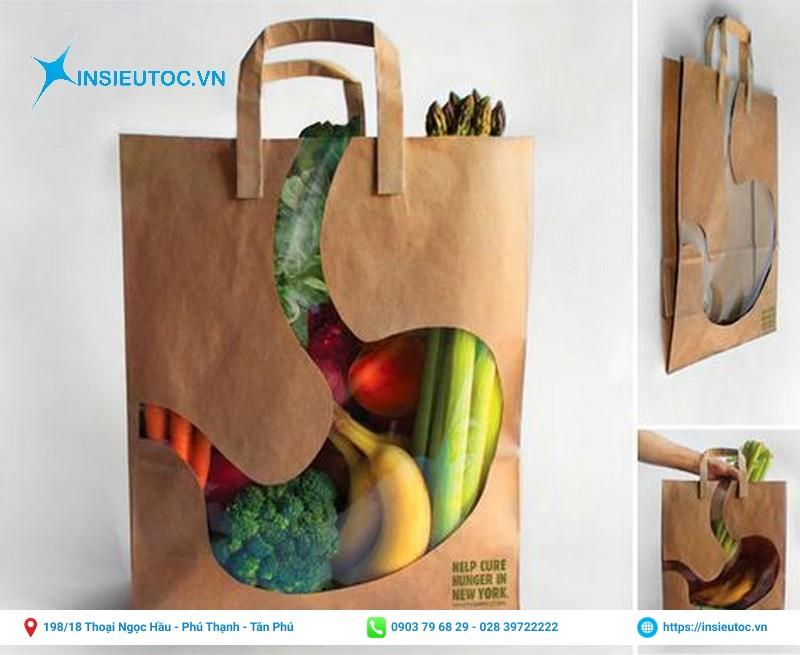 Túi giấy xi măng chứa nhiều thực phẩm