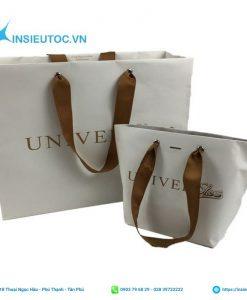 Túi giấy nền trắng kết hợp dây quai màu nâu