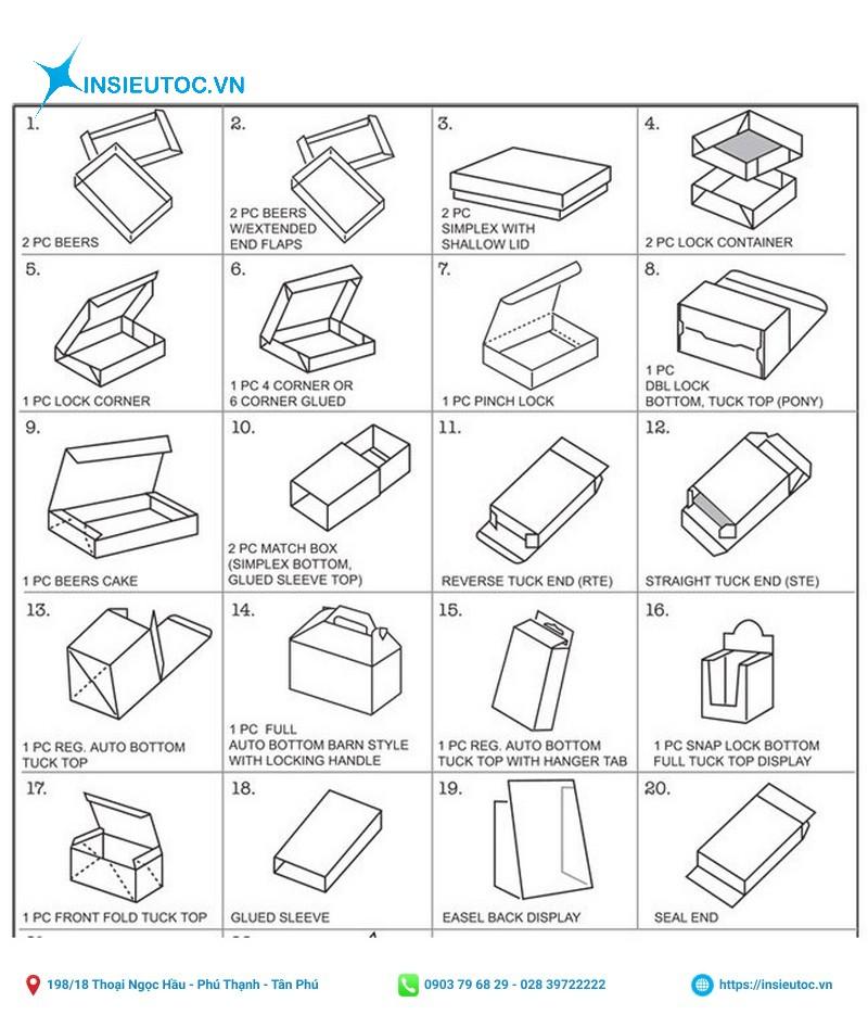 Kiểu dáng hộp giấy phổ biến