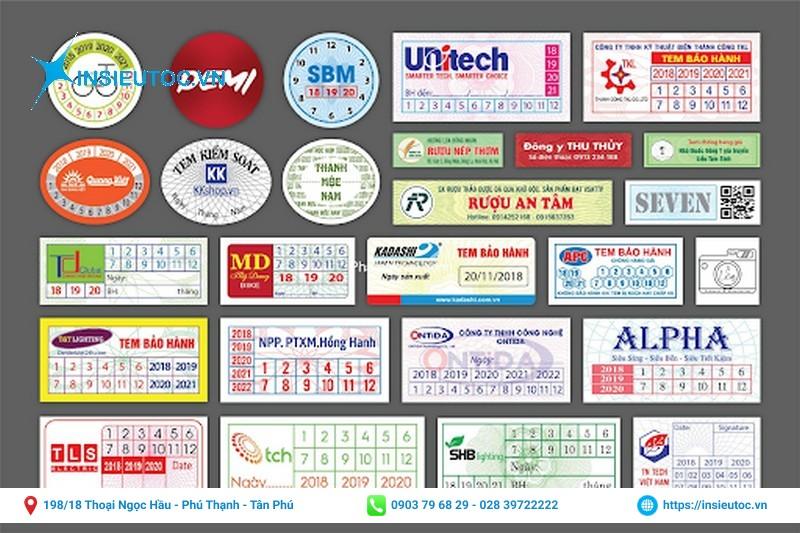 tem bảo hành sản phẩm có rất nhiều hình dạng