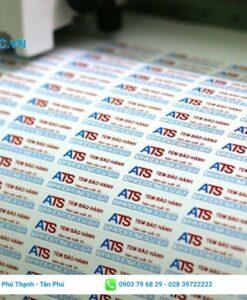 tem bảo hành chất liệu giấy