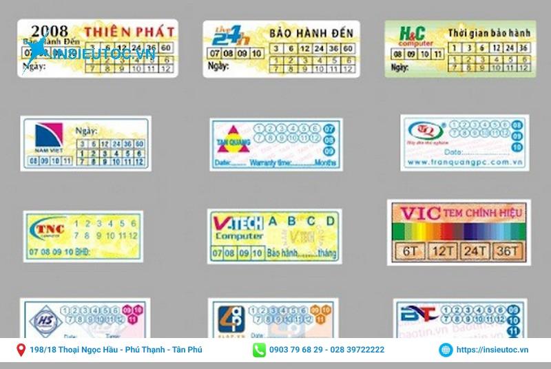 một số mẫu tem dán bảo hành